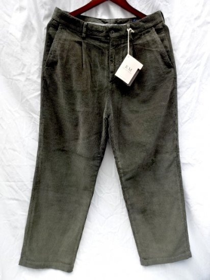 RICCARDO METHA Corduroy 1Tac Trousers Made in Italy Olive