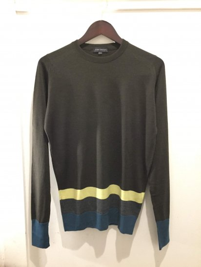 John Smedley OLD TAG Extra Fine Merino Wool Knit MULTI BORDER PULLOVER Made in England