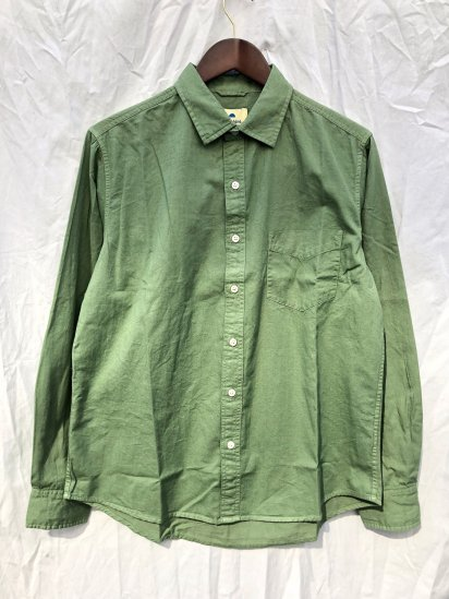 Sunshine Blues Overdyed Relax Fit Regular Collar Shirts Okra