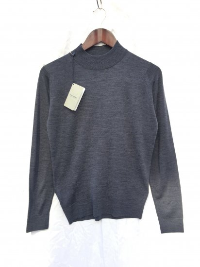 John Smedley Extra Fine Merino Wool Knit A4031 PULLOVER Made in England Charcoal