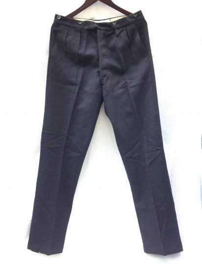40-50's Vintage Dead Stock Work ( GPO ? ) Wool Trousers Dark Navy