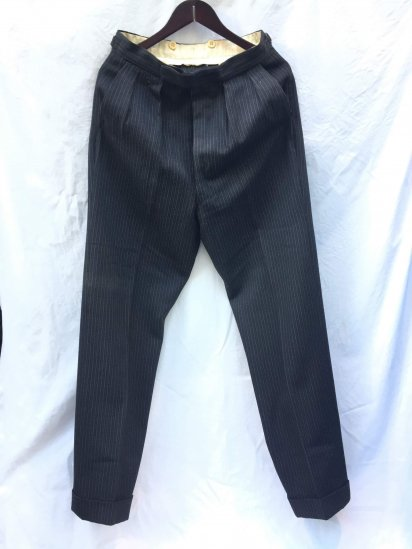 40's〜 Vintage British Wool Trousers Good Condition Black x Charcoal Stripe