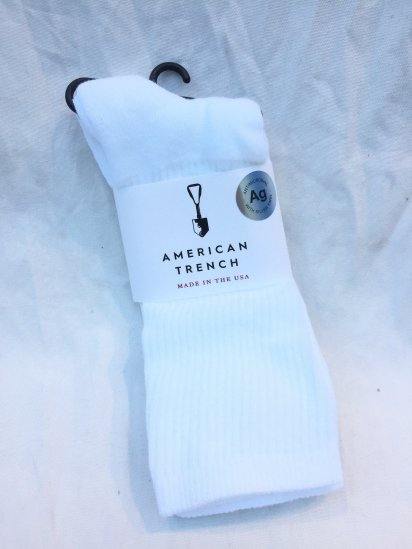 AMERICAN TRENCH Silver Crew Sock Made in U.S.A