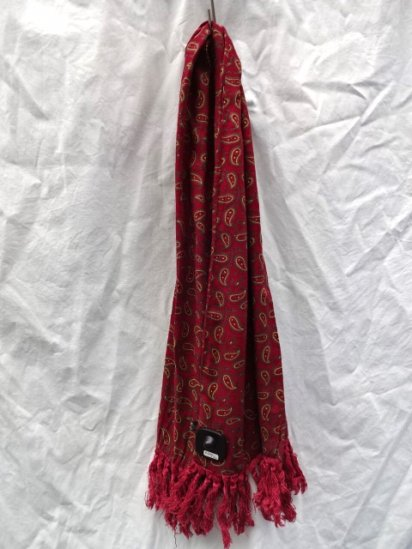 50-60's Vintage Hottex x Tootal Rayon Scarf Made in ENGLAND Burgundy x Yellow Paisley / 5