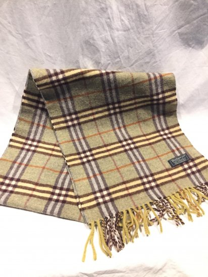 Vintage Burberrys' Cashmere Muffler Made in England  Mint Condition Olive Tartan
