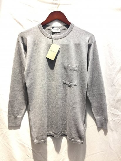 John Smedley Extra Fine Merino Wool Knit A4035 PULLOVER With Pocket Made in England Silver