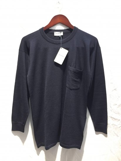 John Smedley Extra Fine Merino Wool Knit A4035 PULLOVER With Pocket Made in England Midnight (Navy)