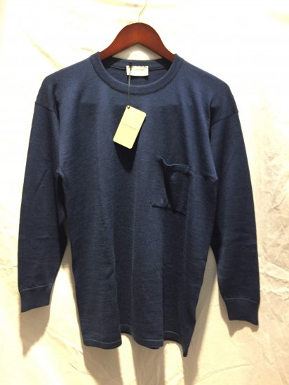 John Smedley Extra Fine Merino Wool Knit A4035 PULLOVER With Pocket Made in England Indigo