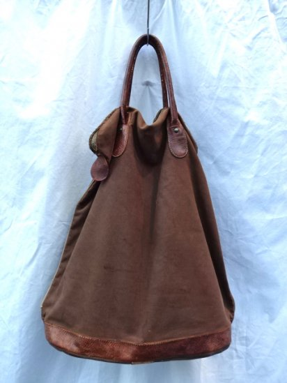 40's〜 Vintage French Hunting?Canvas Bag Brown
