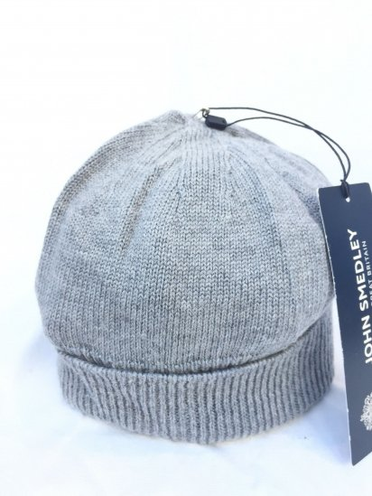 John Smedley Extra Fine Merino Wool Knit Cap Made in England Mid Grey