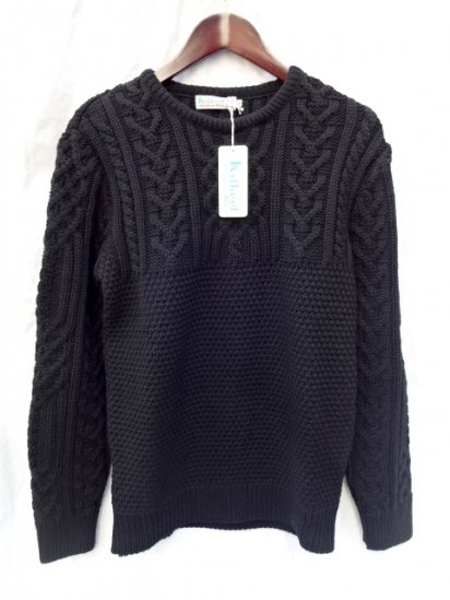 KILKEEL MOSS STITCH CREW NECK MADE IN GREAT BRITAIN BLACK
