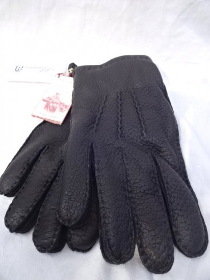 DENTS Peccary Leather x Cashmere Lining Glove Made in England Black