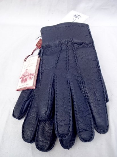 DENTS Peccary Leather x Cashmere Lining Glove Made in England Navy