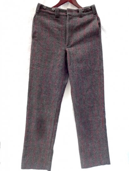 80〜90's Vintage Woolrich Wool Trousers MADE IN U.S.A Dead〜Mint Condition Grey Red Check