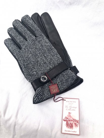 DENTS × Harris Tweed Deerskin With Cashmere Lining Glove<BR>Made in England Black