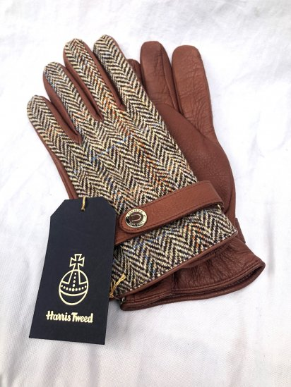 DENTS × Harris Tweed Deerskin With Cashmere Lining Glove<BR>Made in England Brown