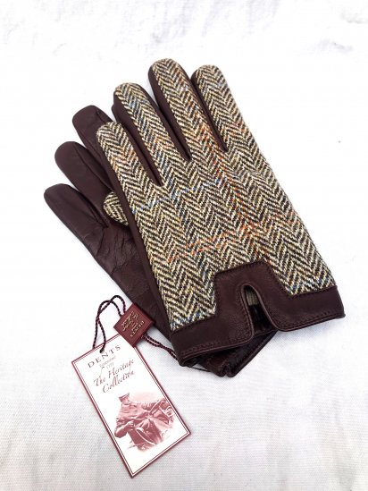DENTS × Harris Tweed Hairsheep With Cashmere Lining Glove<BR>Made in England Brown