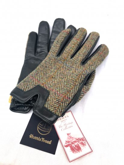DENTS × Harris Tweed Hairsheep With Cashmere Lining Glove<BR>Made in England Green