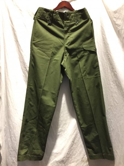60 ~ 70's Vintage Dead Stock British Army Overall Green Trousers Olive