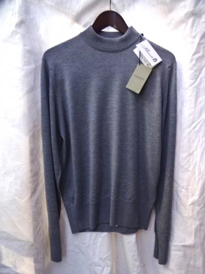 John Smedley A4206 Wool Mock Neck Pullover Made in England Grey