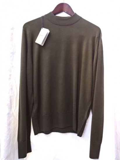 John Smedley A4206 Wool Mock Neck Pullover Made in England Olive