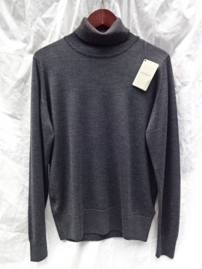 John Smedley A4255 Wool Turtle Neck Pullover Made in England Charcoal