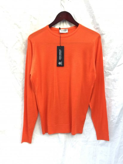 John Smedley Lundy Wool Crew Neck Pullover Made in England Blaze Orange
