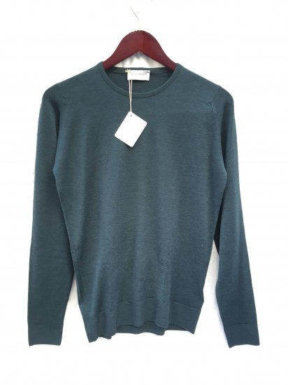 John Smedley Lundy Wool Crew Neck Pullover Made in England Racing Green