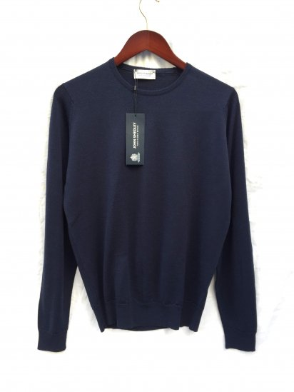 John Smedley Lundy Wool Crew Neck Pullover Made in England Midnight