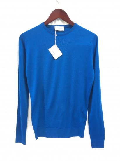 John Smedley Lundy Wool Crew Neck Pullover Made in England Breton Blue