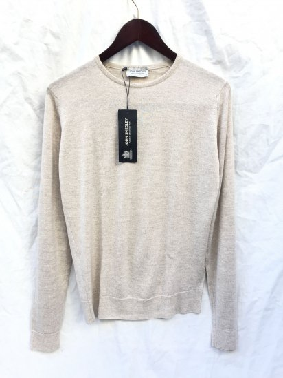 John Smedley Lundy Wool Crew Neck Pullover Made in England Eastwood Beige