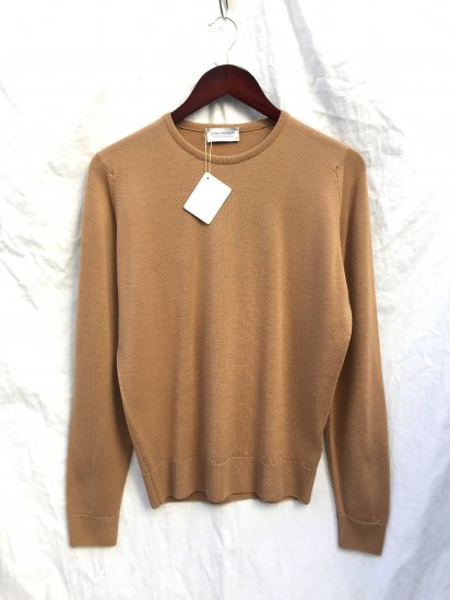 John Smedeley Extra Fine Merino Wool Knit A4270 PULLOVER Made in England Camel