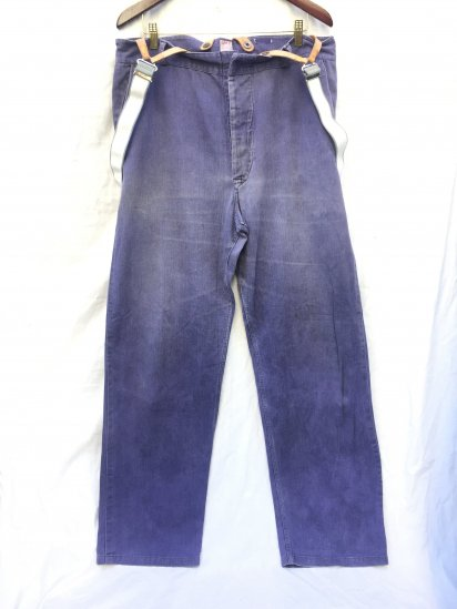 40's Vintage British Work Trousers Made in England with Dead Stock RAF Braces Navy / 1