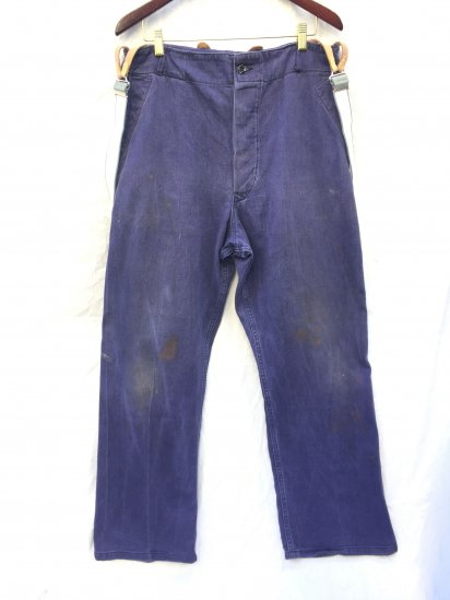 50's Vintage British Work Trousers with Dead Stock RAF Braces Navy / 2