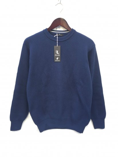 Fassina Luca Cotton AZE Knit Crew Neck Sweater Made in Italy Navy
