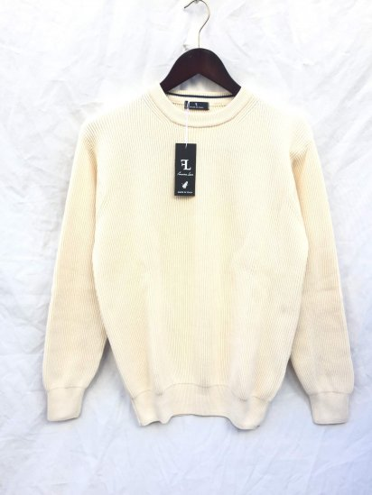 Fassina Luca Cotton AZE Knit Crew Neck Sweater Made in Italy Ecru (Natural)