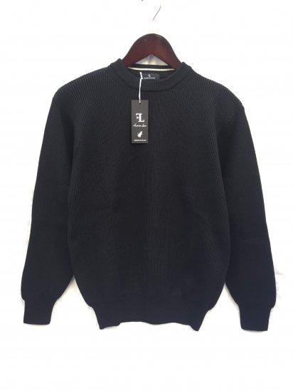 Fassina Luca Cotton AZE Knit Crew Neck Sweater Made in Italy Black