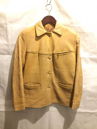 40's Vintage Leather Sports Jacket Yellow<BR>SPECIAL PRICE!! 19,800 + Tax