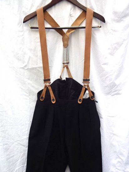 """40's Vintage """"Anderson & Sheppard """" Bespoke Trousers Made in England with Braces Black"""