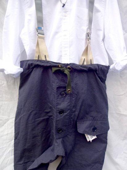 70~80's Vintage Royal Navy B.I.L (Belstaff)Ventile Trousers with Braces Good Condition / 1