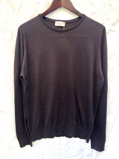 John Smedley Sea Island Cotton Sweater PONZA PULLOVER Made in England Dark Leather