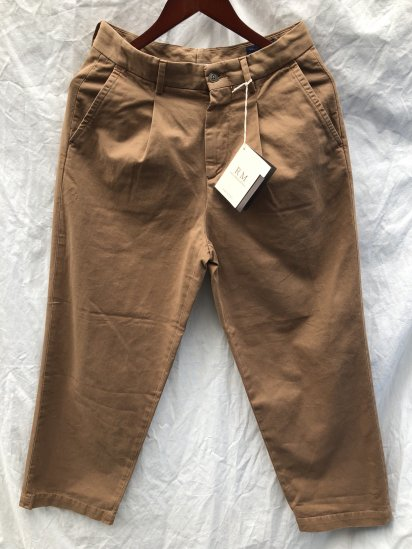 RICCARDO METHA Cotton Twill 1Tac Trousers Made in Italy Camel