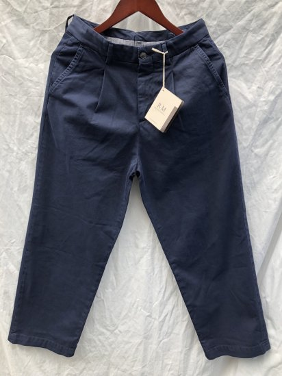 RICCARDO METHA Cotton Twill 1Tac Trousers Made in Italy Navy