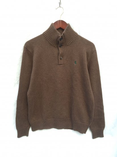 USED Ralph Lauren Cotton Knit Half Button Pullover Brown x Greeen / 1