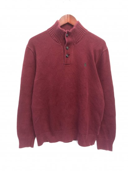 USED Ralph Lauren Cotton Knit Half Button Pullover Burgundy x Greeen / 2