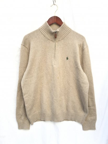 USED Ralph Lauren Cotton Knit Half Zip Pullover Mix Beige x Olive / 3