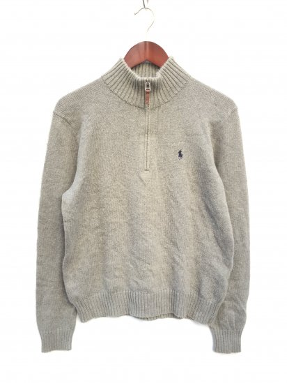 USED Ralph Lauren Cotton Knit Half Zip Pullover Mix Grey x Navy / 4