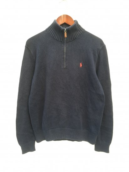 USED Ralph Lauren Cotton Knit Half Zip Pullover Navy x Red / 5