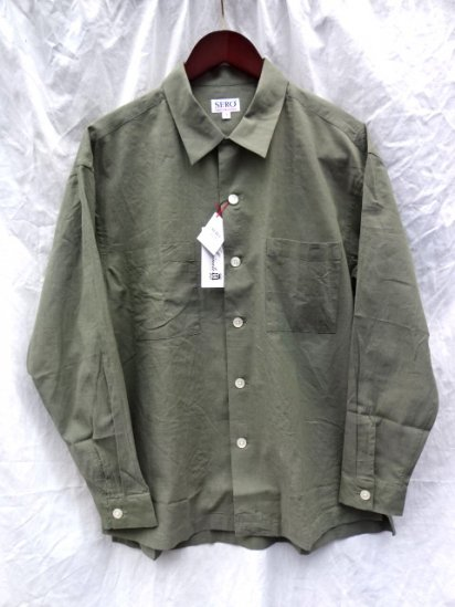 SERO Linen x Cotton Open Collar Shirts Olive