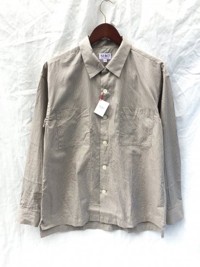 SERO Cotton Check Open Collar Shirts Brown Check